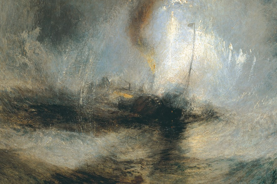 """Tempête de Neige"" exposé en 1842 de J.W. Turner  Snow Storm - Steam-Boat off a  Harbour's Mouth making Signals in Shallow Water, and going by the Lead"
