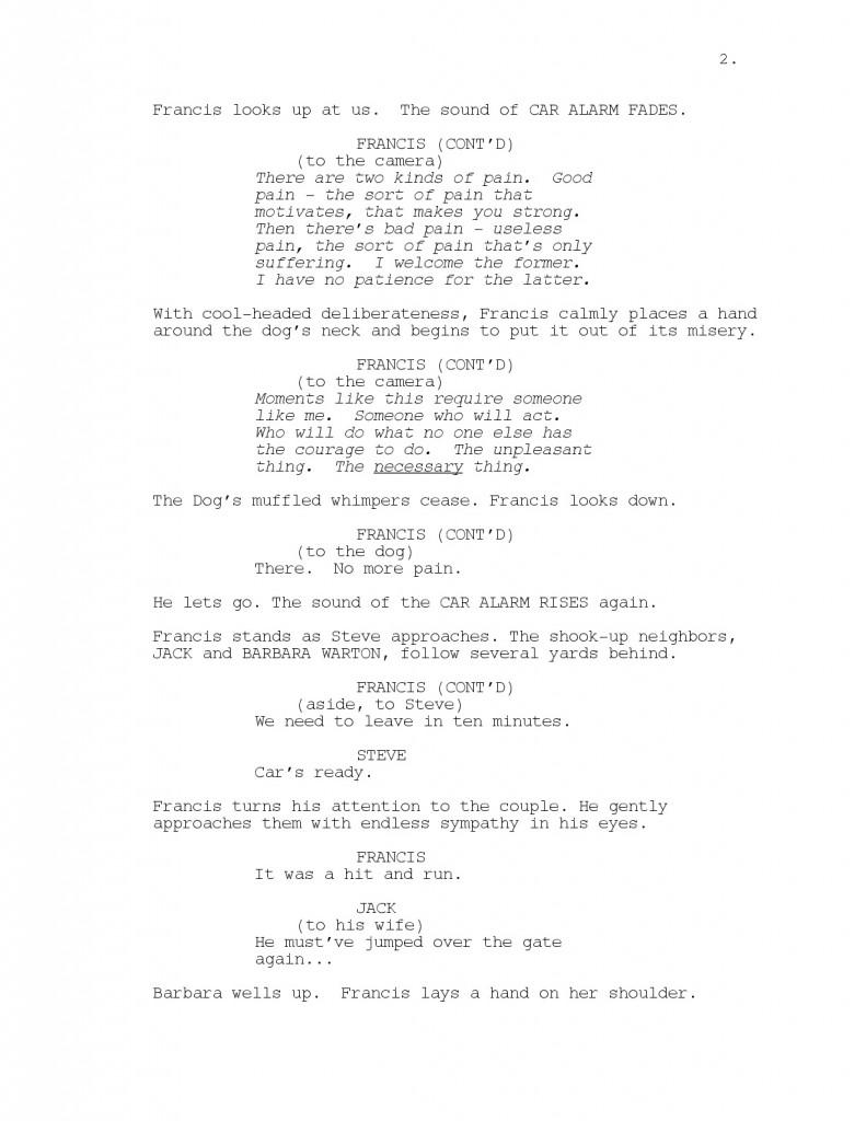 Extrait du scénario de l'épisode pilote.