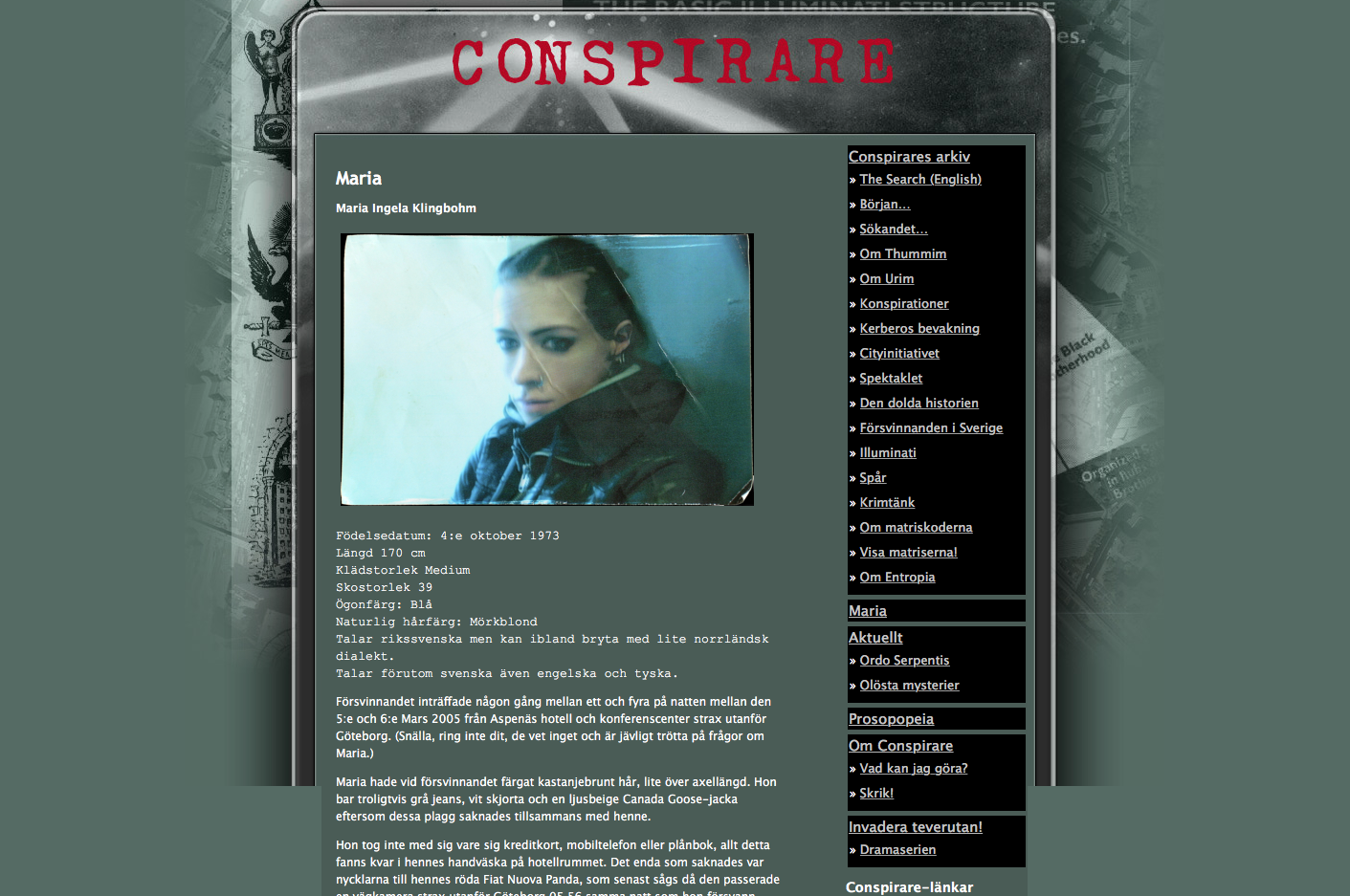 "Le site ""Conspirare"". Ci-dessus, la page de description de la disparue, Maria."