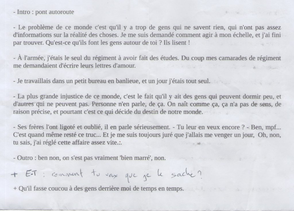Notes de tournage pour l'épisode de Laurent