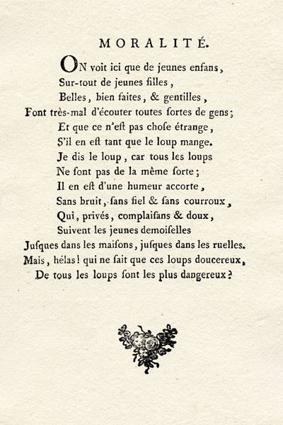 """Un extrait du """"Petit chaperon rouge"""" dans le recueil """"Le cabinet des fées""""."""