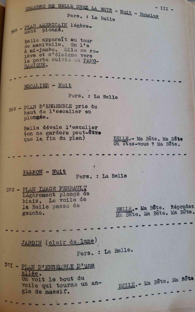 Extrait du scénario de La Belle et la Bête de Cocteau