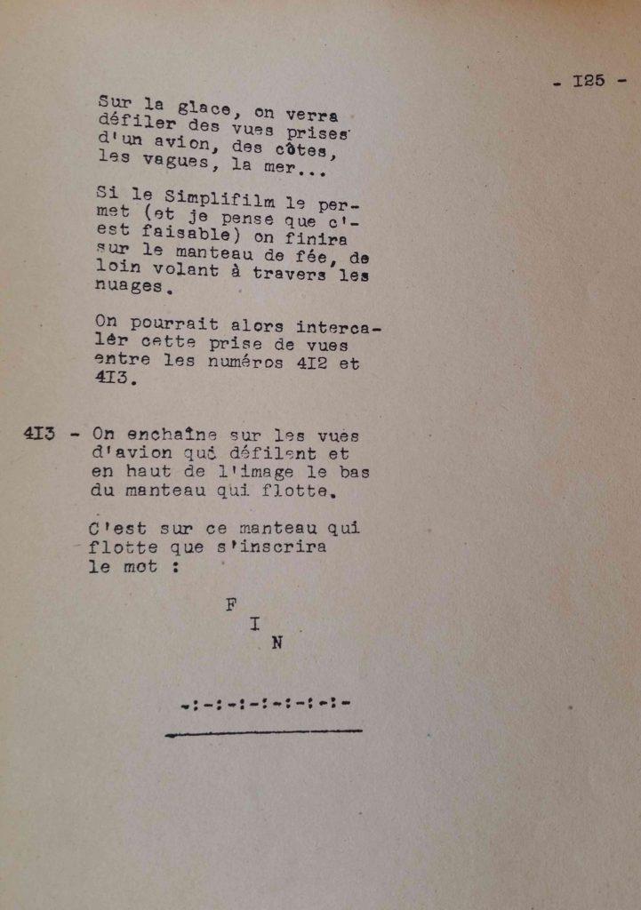 Page finale du scénario de La Belle et la Bête de Cocteau