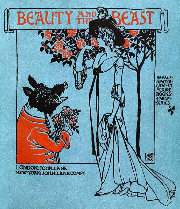 Une édition du conte de La Belle et la Bête par Walter Crane (Angleterre, environ 1900)